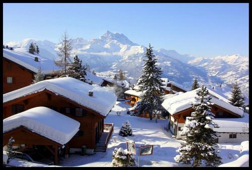 Picture of an alpine scene with Snowcovered mountains and houses